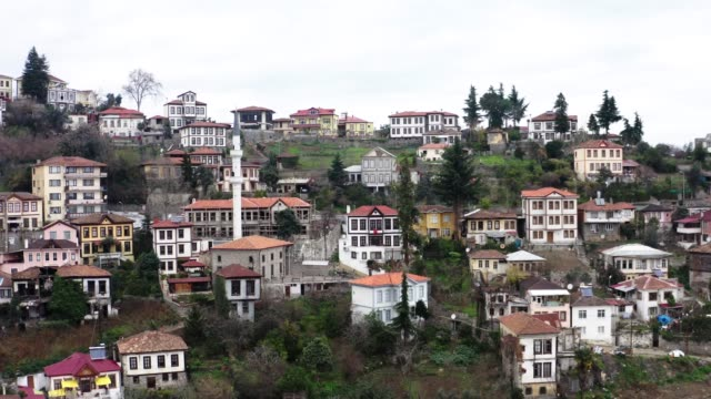 Aerial view of ottoman houses in Ortamahalle, Akcaabat, Trabzon, Turkey.