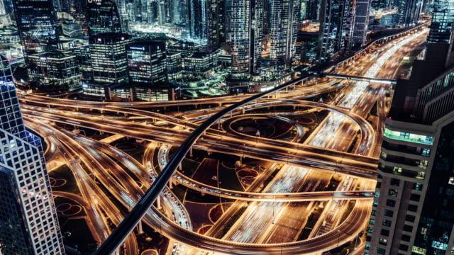 vídeos y material grabado en eventos de stock de t/l tu vista aérea del paso elevado y el tráfico de la ciudad por la noche / dubái, eau - prosperidad