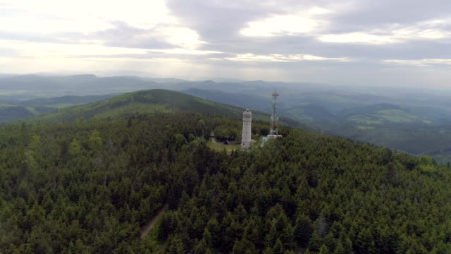 luftaufnahme der eule berge landschaftspark polen - kieferngewächse stock-videos und b-roll-filmmaterial