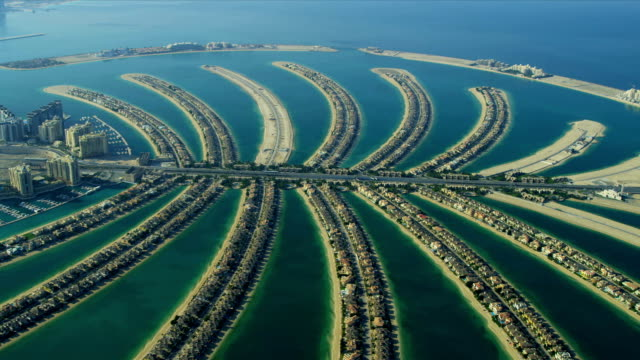 Aerial view of Palm Jumeirah, Dubai, video