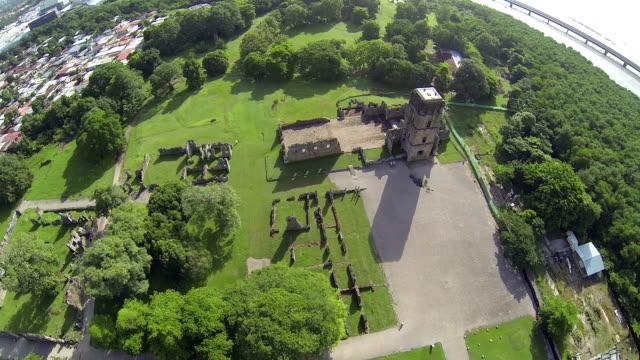 Aerial view of Panama Viejo Ruins, Panama City, Panama, Central America video