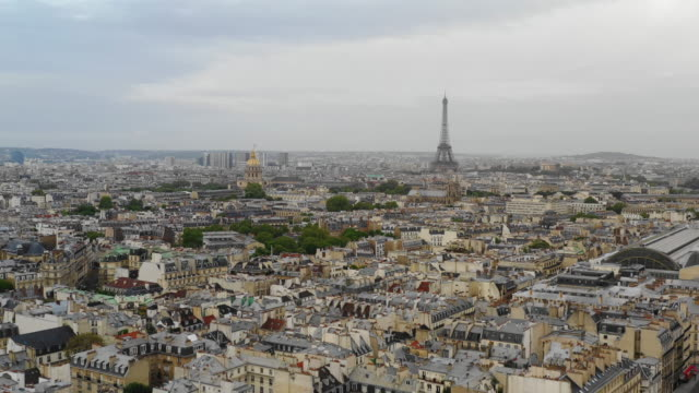 Aerial view of Paris and Eiffel Tower video