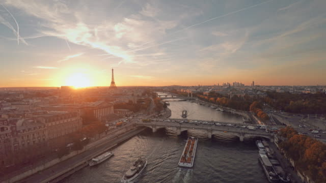 aerial view of paris during sunset - landmarks stock videos and b-roll footage