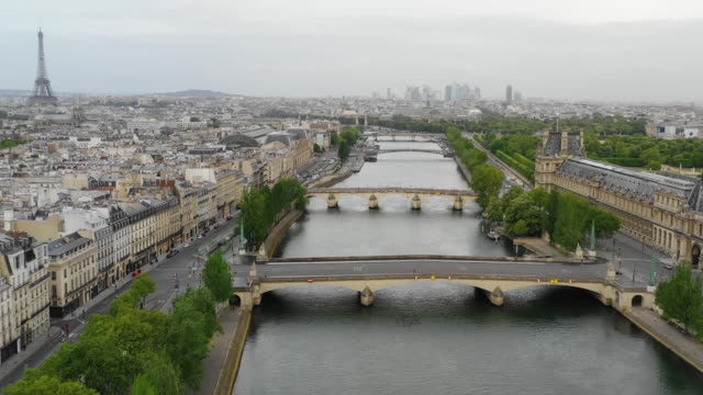Aerial view of Paris, Seine river and Eiffel Tower