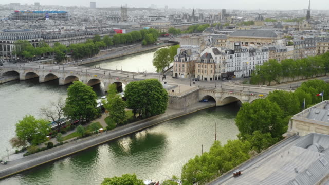 Aerial view of Paris, University de France and Seine river
