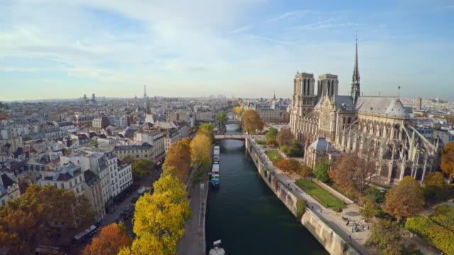 パリのノートルダム大聖堂の航空写真 ビデオ