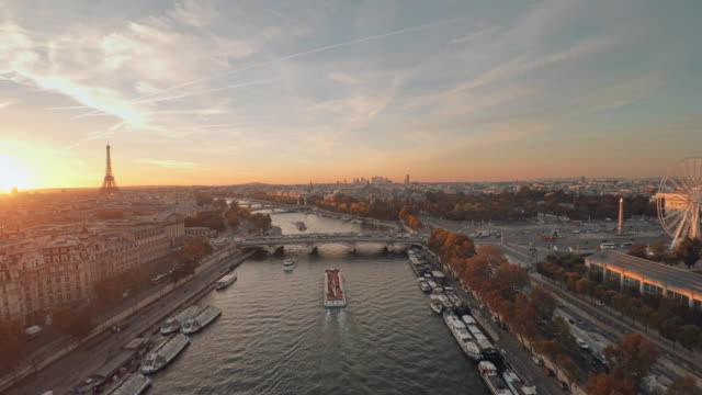 Aerial view of Paris with Seine river during sunset