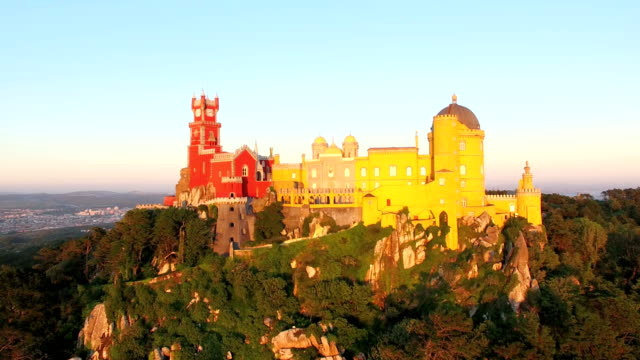 Aerial view of park and National palace of Pena, Portugal. video