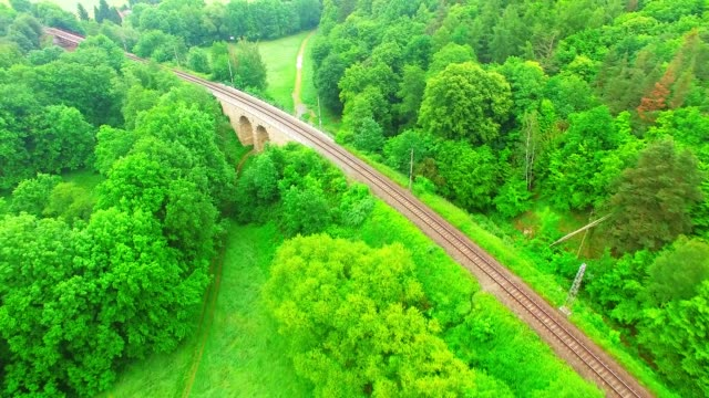 Aerial view of passenger train on local railroad. Industry and transportation from above. Aerial view of passenger train on local railroad. Industry and transportation from above. Travel in European Union. intercity stock videos & royalty-free footage