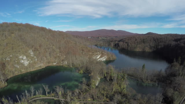 Aerial view of paths between the lakes, Plitvice