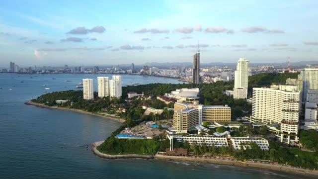 Aerial view of Pattaya city and Pattaya bay in Chon Buri, Thailand.