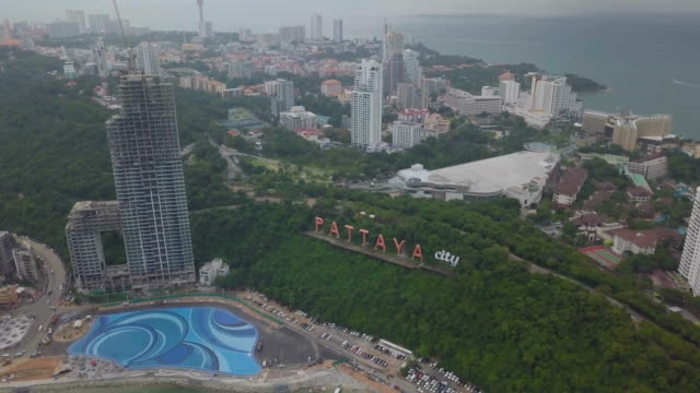 aerial view of pattaya city is famous about sea sport and night life entertainment. - pattaya filmów i materiałów b-roll
