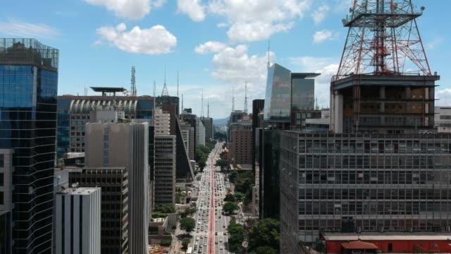 Aerial view of Paulista Avenue, Sao Paulo Aerial view of Paulista Avenue in a sunny day, Sao Paulo, Brazil são paulo state stock videos & royalty-free footage