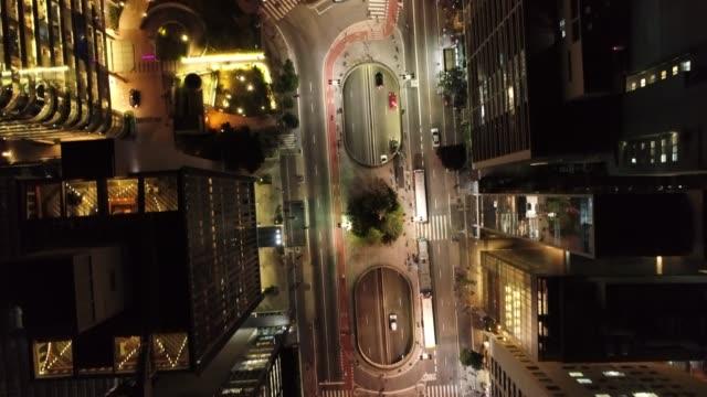 aerial view of paulista avenue, são paulo, brazil. night's scenery. downtown's scene.  landmark of the city, heart of são paulo. illuminated avenue. - são paulo video stock e b–roll