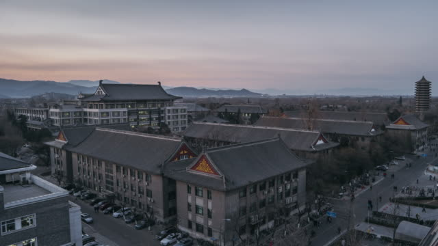 T/L WS HA Aerial View of Peking University, Beijing, China, Sunset to Dusk Transition