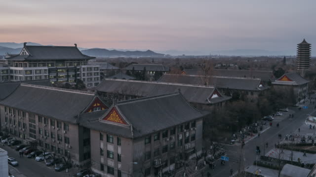 T/L WS HA TU Aerial View of Peking University, Day to Dusk Transition / Beijing, China