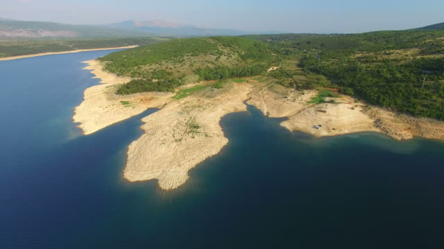 Aerial view of Peruća lake, Croatia video