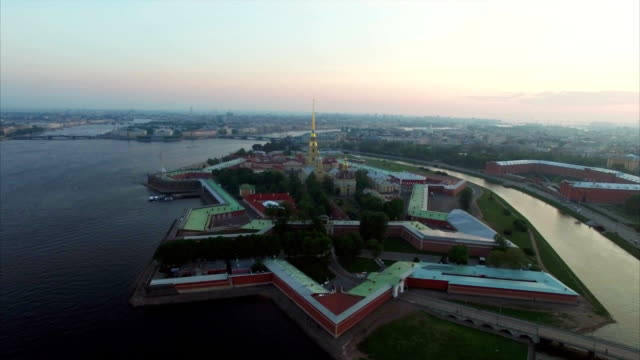 Aerial view of Peter and Paul Fortress in Saint-Petersburg at the evening video