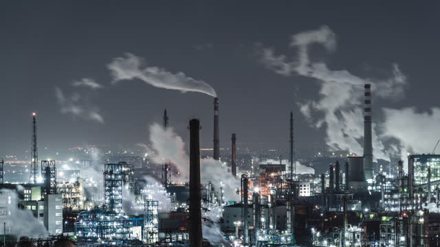 T/L PAN Aerial View of Petrochemical Plant and Oil Refinery Industry at Night