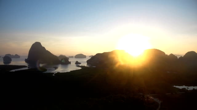 Aerial view of Phan-nga bay in sunrise, tropical view point. video