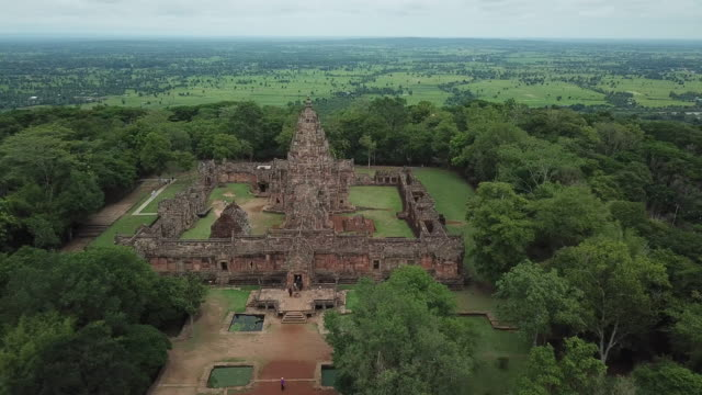 Aerial view of Phanom Rung Sand stone Castle Historical park in Buri Ram Province Thailand