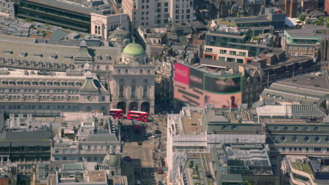 aerial view of piccadilly circus, london, uk. 4k - london architecture stock videos & royalty-free footage