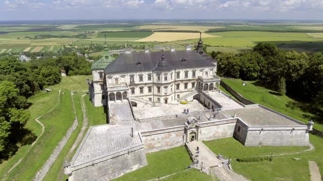 4k. aerial view of pidhorodetsky castle in lviv region, ukraine - barocco video stock e b–roll