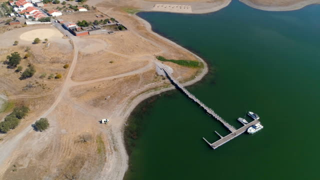 Aerial View of Pier on Lake video