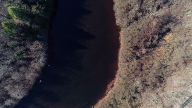 aerial view of pocono mountains, appalachian, in late fall sunny day - горы поконо стоковые видео и кадры b-roll