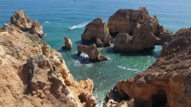 Aerial view of Ponta da Piedade rock formations in Lagos, Portugal video