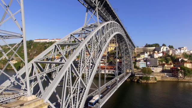 Aerial view of Porto old town and bridge dom luis I over Douro river, Portugal video