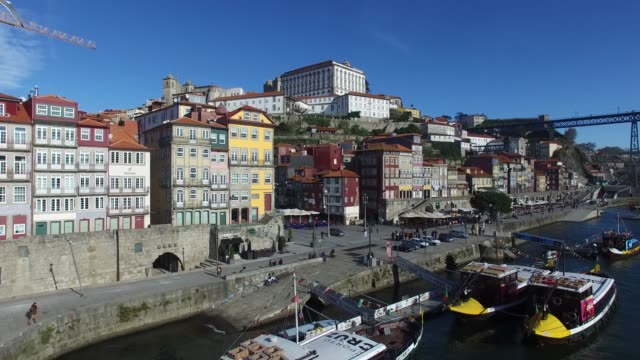 aerial view of porto, portugal - port wine stock videos & royalty-free footage