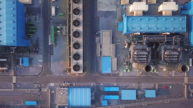 Aerial view of Power Plant industry,aerial gas pipe stock videos & royalty-free footage