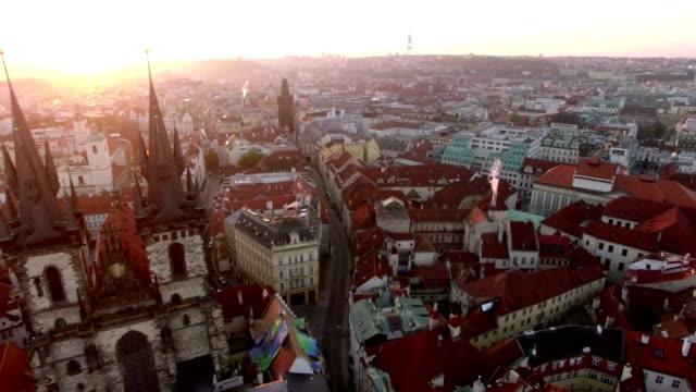 Aerial view of Prague cityscape, Czech Republic video