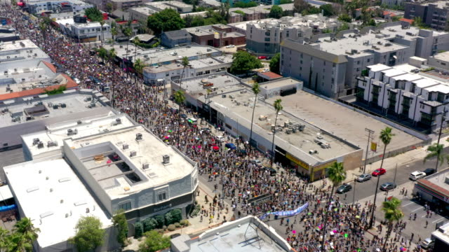 aerial view of protest in hollywood - conflittualità video stock e b–roll
