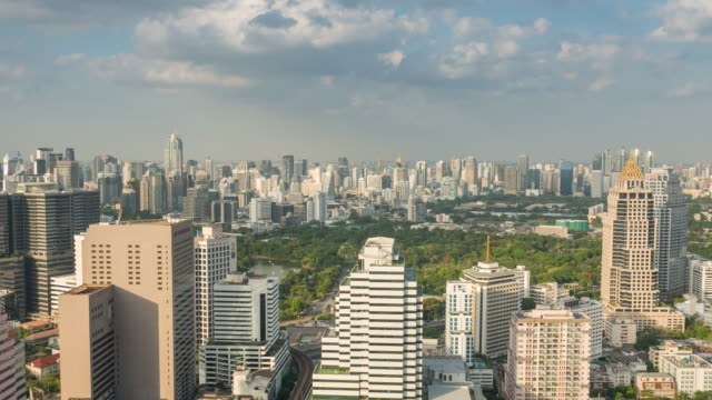 Aerial view of Public park in the City, Bangkok, Time Lapse Zoom in video