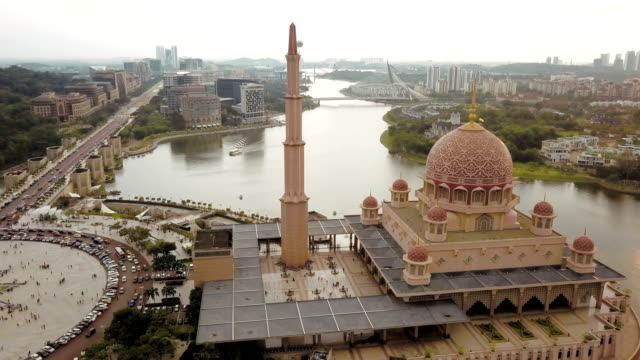 Aerial View of Putra Mosque in Kuala Lumpur, Malaysia, officially the Federal Territory video
