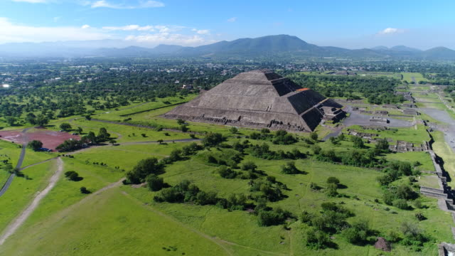 Aerial view of pyramids in ancient mesoamerican city of Teotihuacan, Pyramid of the Sun, Valley of Mexico from above, Central America, 4k UHD video