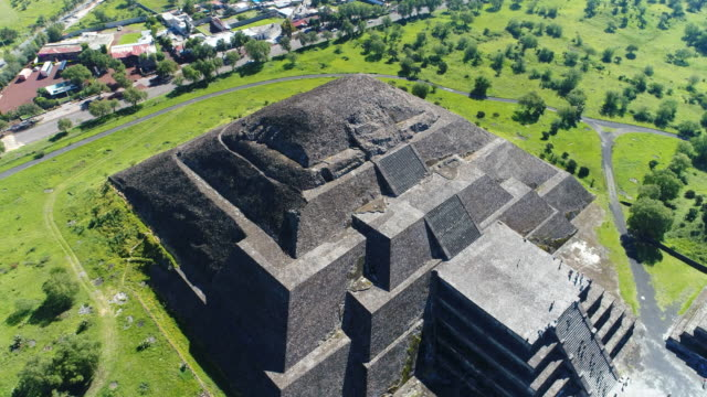 Aerial view of pyramids in ancient mesoamerican city of Teotihuacan, Pyramid of the Moon, Valley of Mexico from above, Central America, 4k UHD video