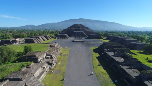 Aerial view of pyramids in ancient mesoamerican city of Teotihuacan, Pyramid of the Moon, Valley of Mexico from above, Central America, 4k UHD