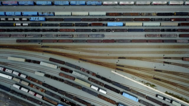4K Aerial view of railroad rail yard video