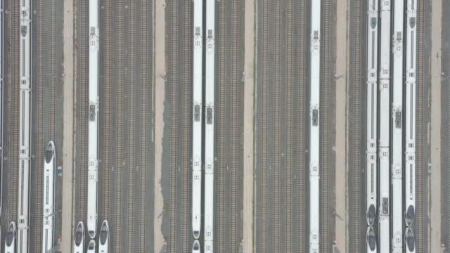 Aerial view of railroad tracks video