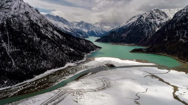 aerial view of ranwu lake - canyon video stock e b–roll