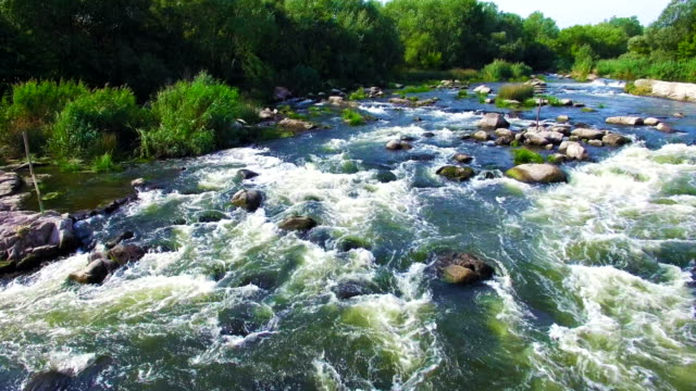 Aerial view of rapid river