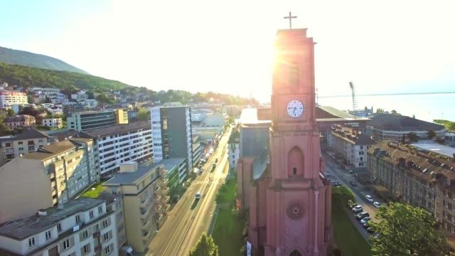 Aerial view of Red church in Neuchatel, Switzerland video