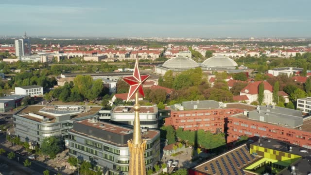 Aerial view of Red Ruby Star - Symbol of the Soviet Communist era in Leipzig, Germany