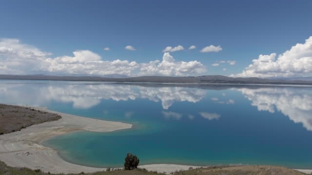 Aerial view of reflection of lake,New Zealand video