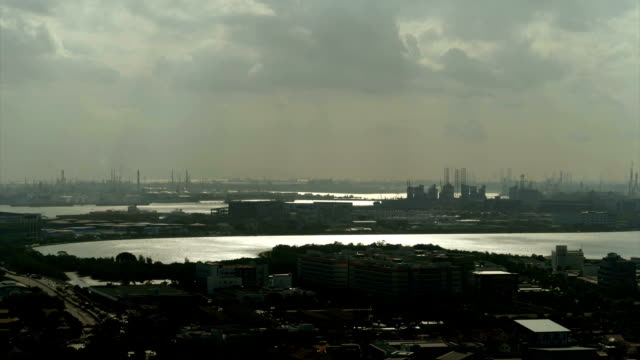 Aerial view of reservoir in silhouette at West of Singapore video