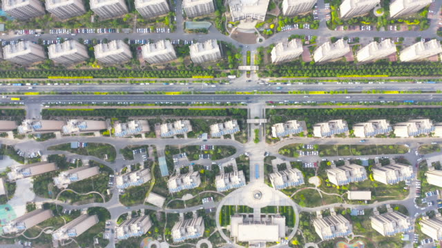 Aerial view of residential district video