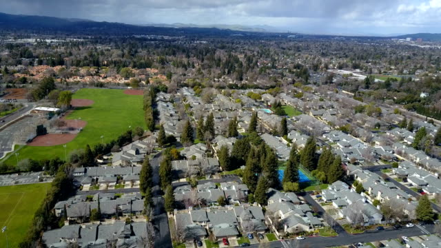 Aerial view of residential houses district video